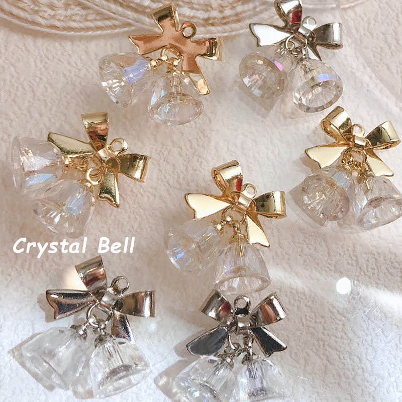2021 New Fashion Silver Gold Nail Charms Nail Art Accessories Aurora Bow Crystal Bell Manicure Decorations Metal Nail 3D Charms