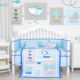 Printed Bed Crib Ocean Bodyguard Print Theme Baby Bed Set Microfiber Crib Bedding Set