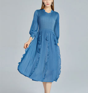 Korean Clothes Ladies Print Pleats Loose Ruffles Summer Casual Dress With Sleeves