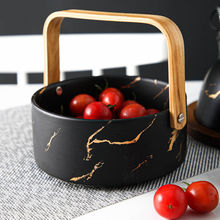 New arrival luxury restaurant wedding fruit rice soup large marble black porcelain bowl set with wooden handle