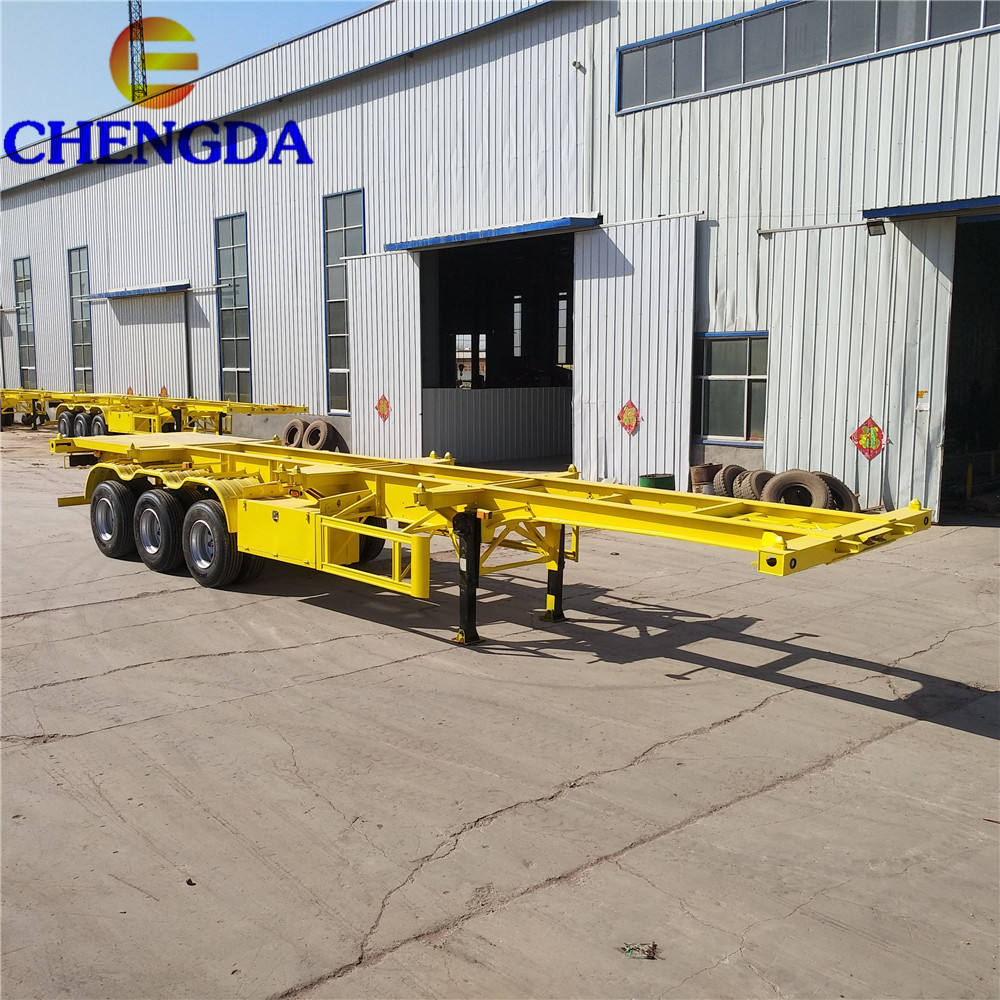 3 axles 40tons Truck Trailer Chassis 30ft Skeleton Container Trailer Extend