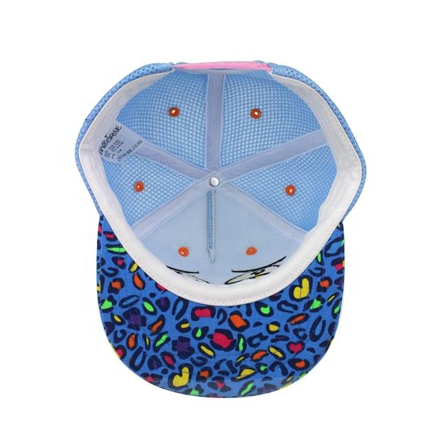 3D Embroidery Snapback Cap/ Baby Flat Brim Trucker Hat With Sandwich Mesh