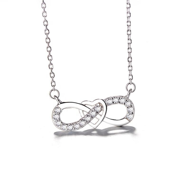 Wholesale European Jewelry 925 Sterling Silver CZ Infinity Heart Necklace