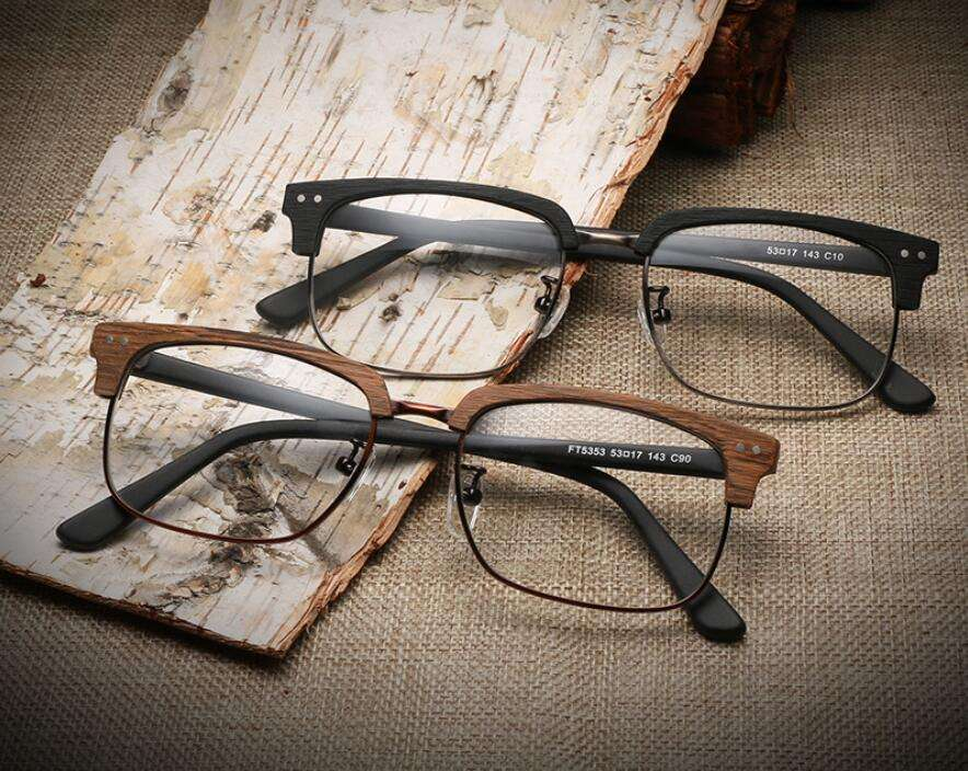 Manufacturer Rectangle Style Optical Frame Imitate Wood Rimless Glasses