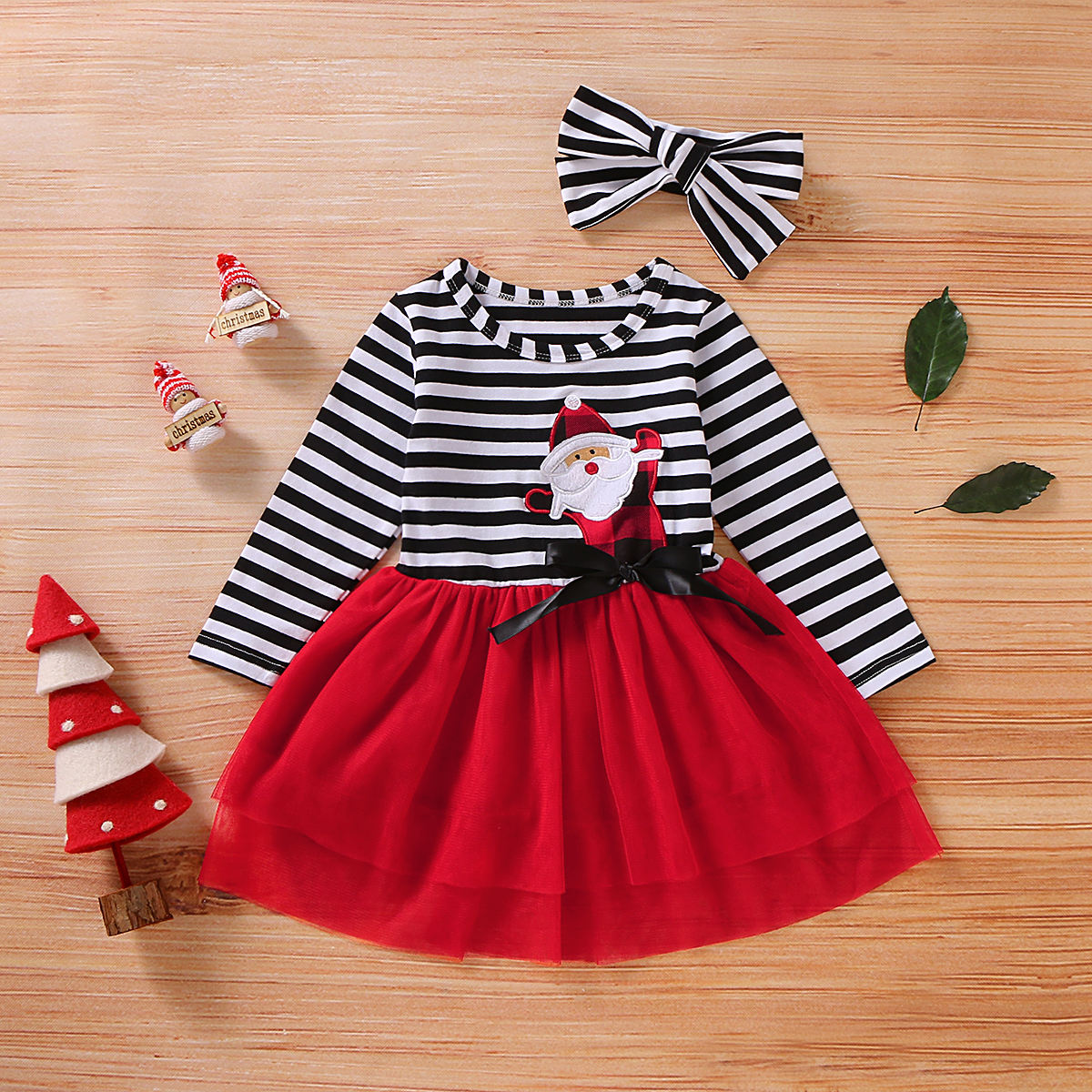 Christmas baby girl clothes long sleeve stripe tops+gauzy skirt+headband 3pcs outfits baby girl clothing sets