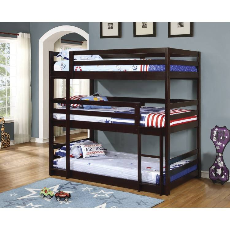 red color used metal triple wooden loft sleeper bunk bed