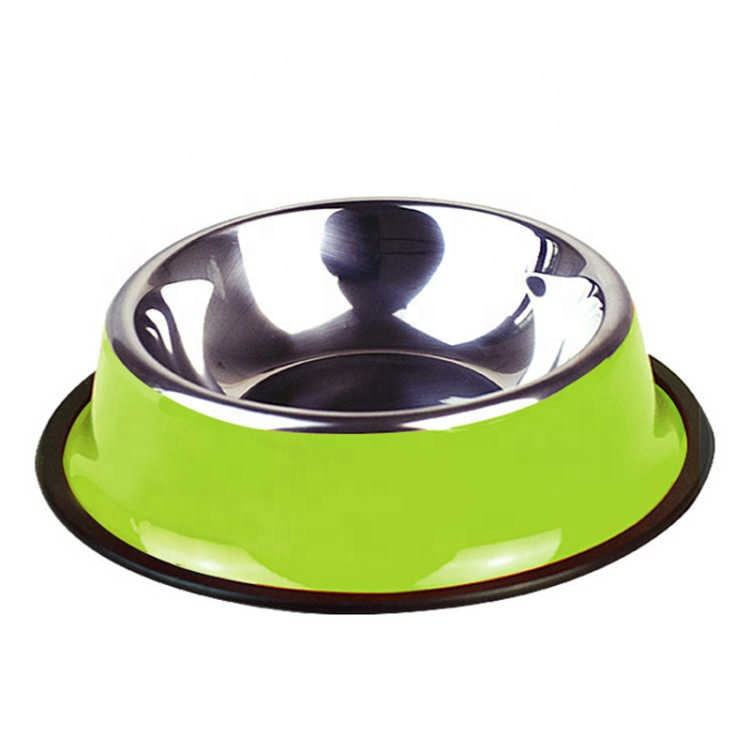 Wholesale Colorful Customized LOGO Stainless Steel Dog Puppy Cats Pet Food Water Bowl With Non-slip Rubber Ring
