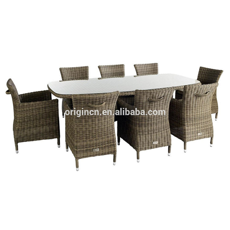 8 seater friends gathering garden poly rattan dining furniture outdoor fiber chair and table