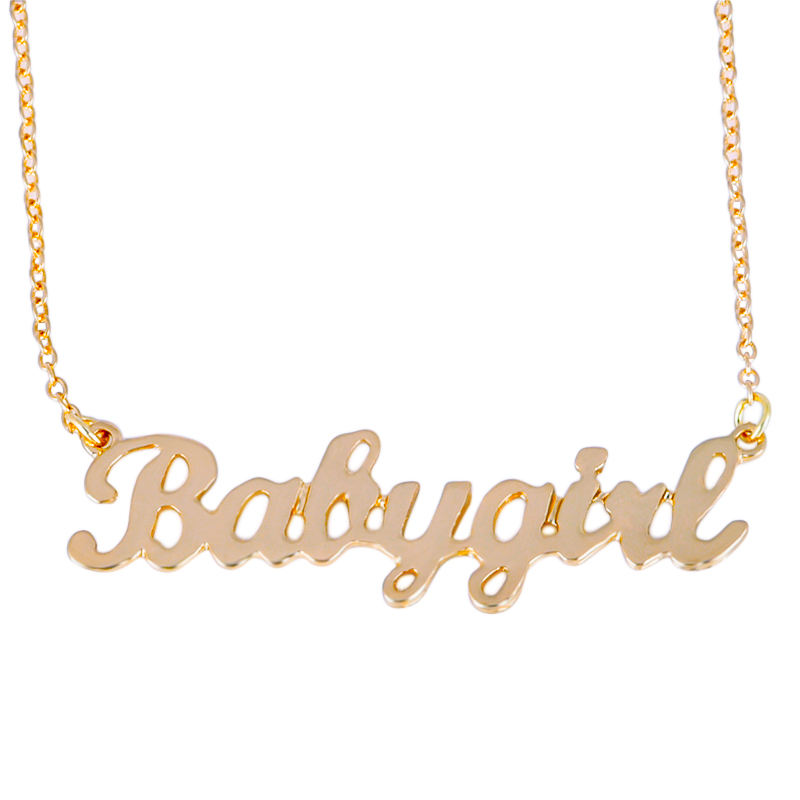 Wholesale Letter Vertical Jewelry Pendant Custom Gold Personalized Name Plate Necklace