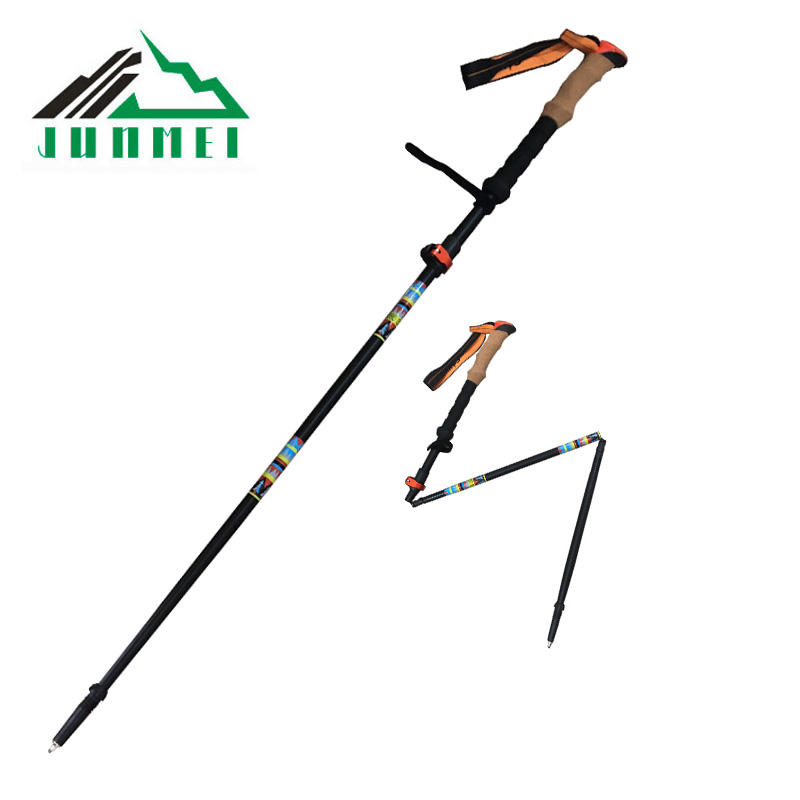 comfortable nrodic alpine folding trekking poles High strength ultralight wholesale hiking telescopic running pole in low price