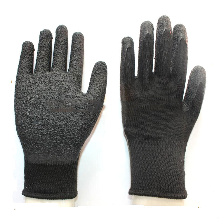 Black Cotton Knitted Liner Crinkle Latex Coated Grip Marine Fisherman Glove For Fishing