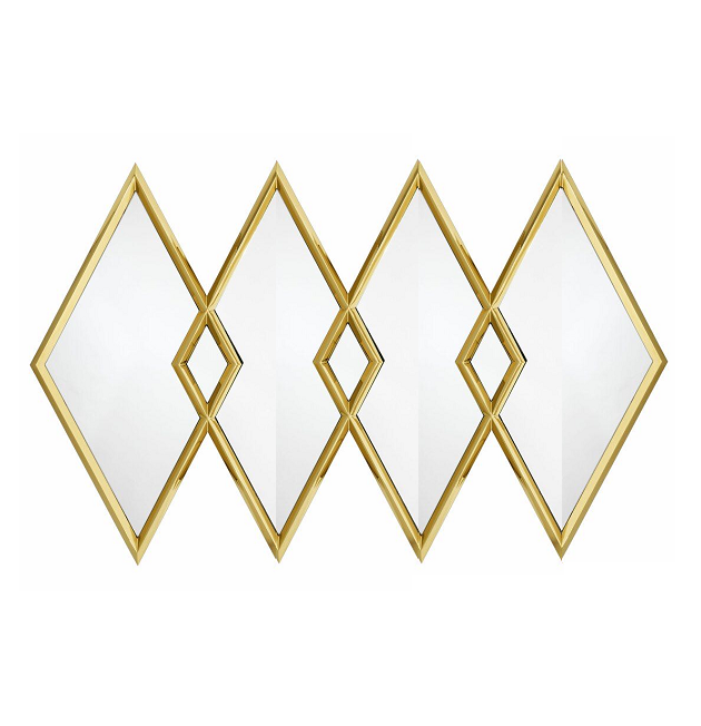 New Arrival Luxury Diamond Wall Mirror Gold Stainless Steel Bedroom Hotel Decorative Mirror Furniture