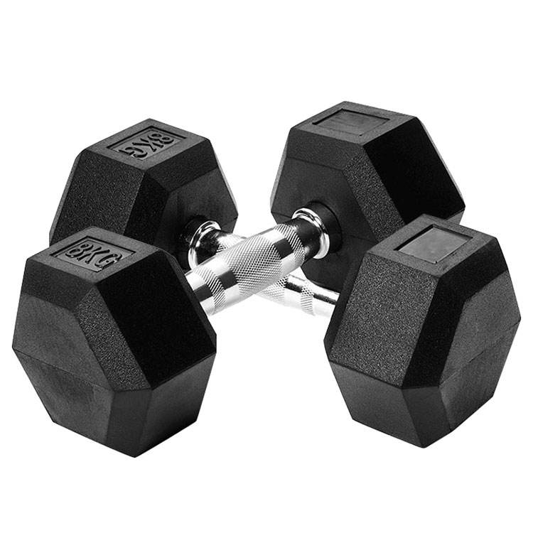 Gym Hex Dumbbell Set Bobot Padat Karet, Set Dumbbell Heksagonal
