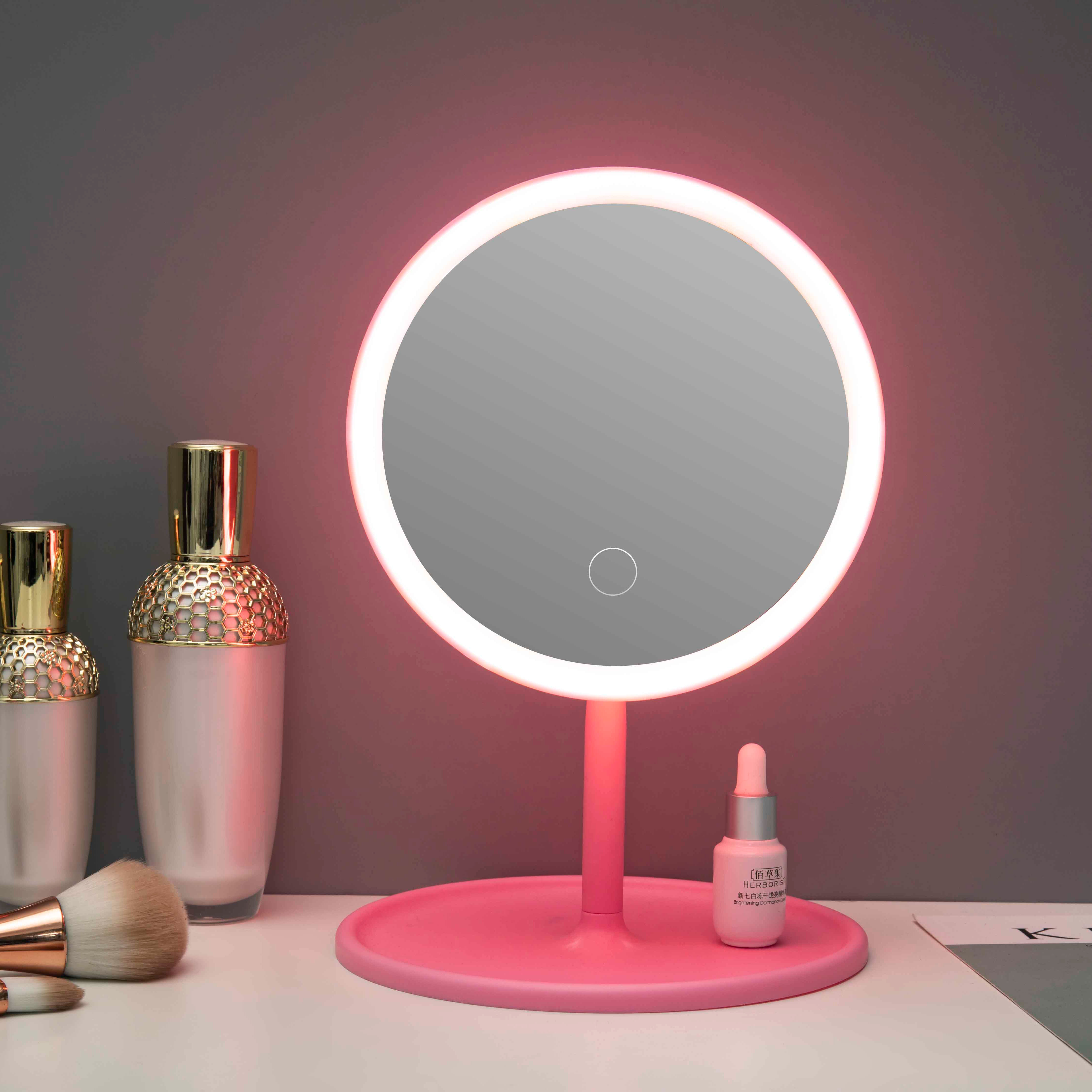 Best Price Custom Wholesale Round Portable Desktop Cosmetic Smart Table Makeup Mirror with Light Led Vanity Mirror