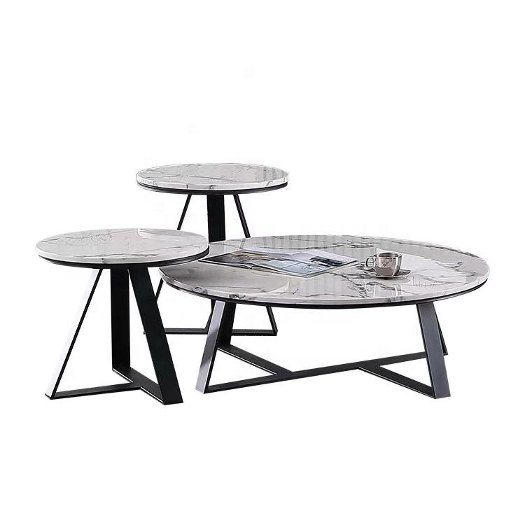 Nordic round corner combination marble coffee+tables living room furniture wrought iron living room furniture sets