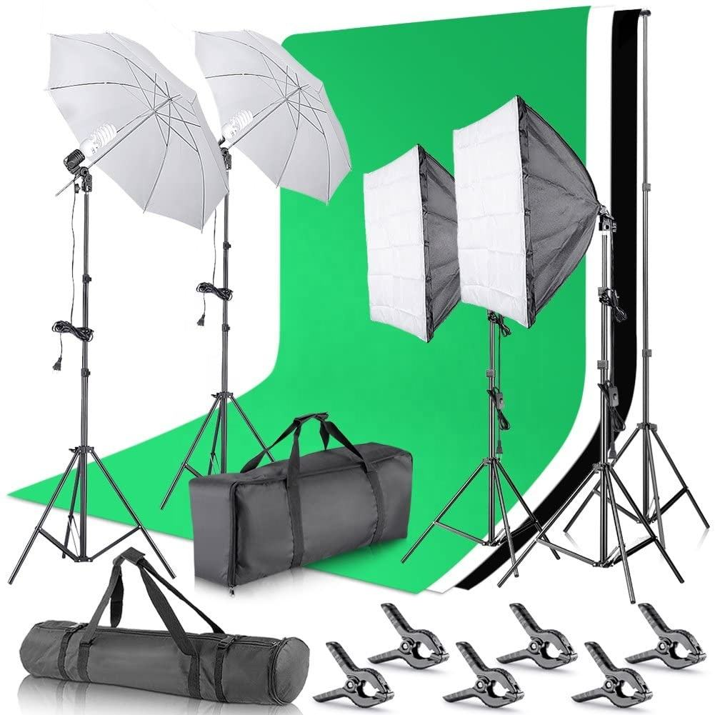 Photography Studio Box Lighting Kit Polyester Backdrop Stand Full Set