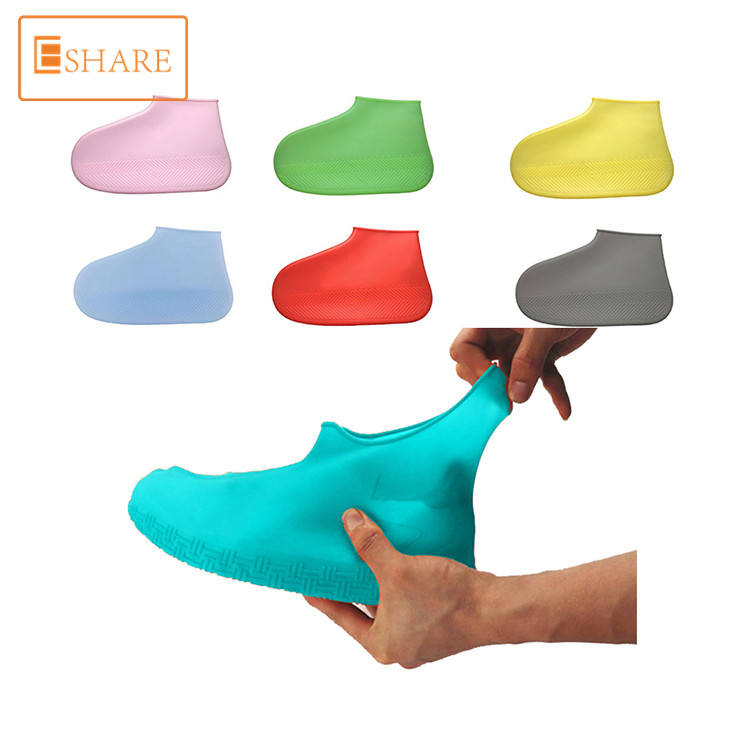 Reusable pure silicone waterproof shoe cover OEM logo and color protect shoes for rainy