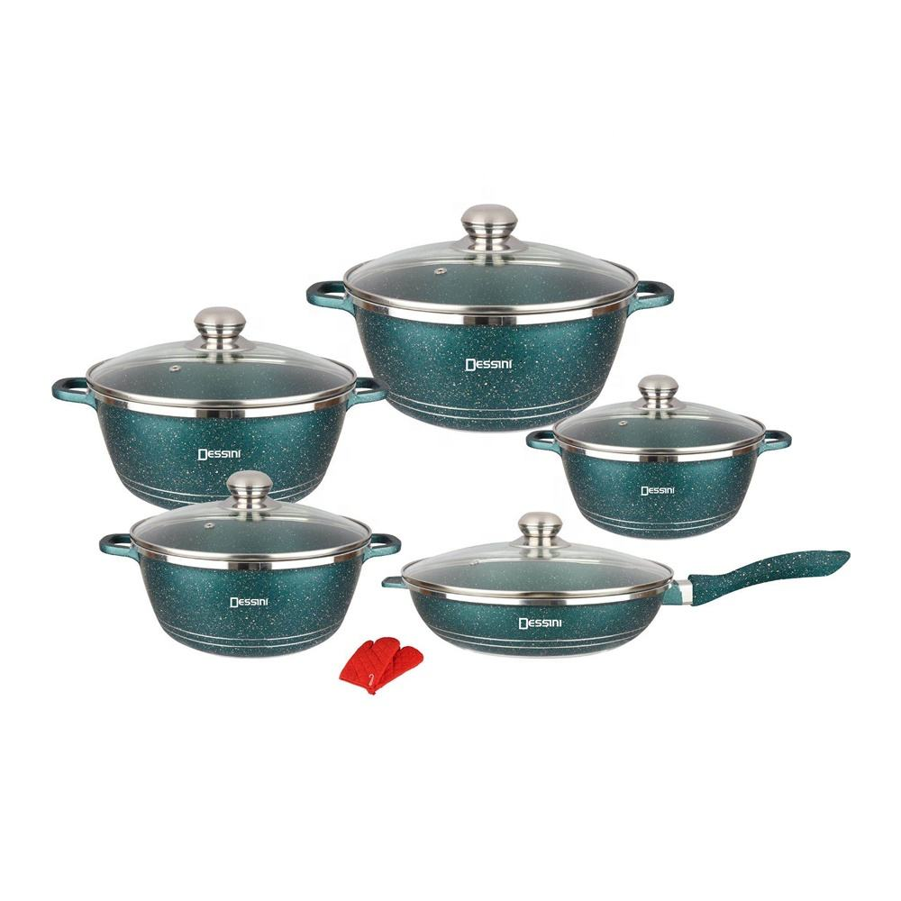Dessini 12Pcs Green Marble Non Stick Die Casting Cookware Set with soft touch handle