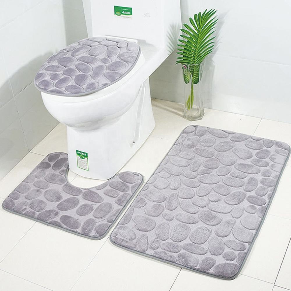 high quality bathroom anti slip mat memory foam bathroom carpet set 3 pieces rugs