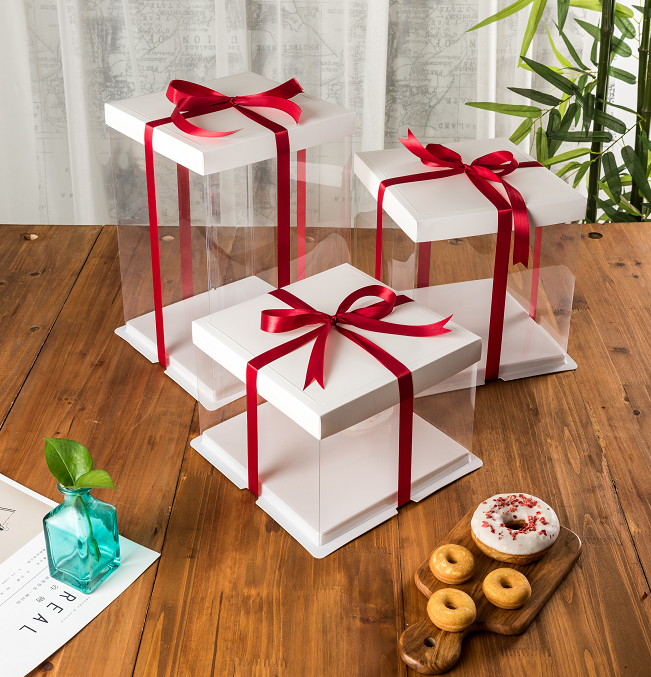 Top quality plain white new design foldable 8'' 10''12'' strong clear plastic bakery tall cake boxes with ribbon