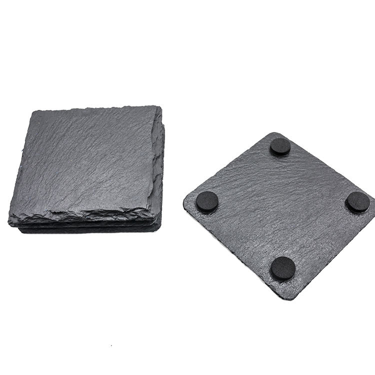 Wholesale BSCI passed factory black natural slate stone square shape coaster