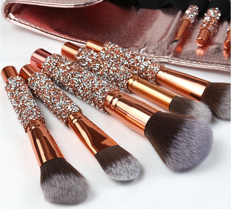 Bling Crystal Menangani Berlian Makeup Brushes 10Pcs Glitter Make-Up Brush Set Cute Makeup Brush Set