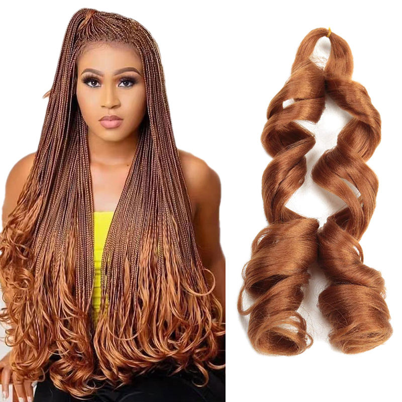Free sample Pre Stretch Crochet Braid Ombre Spiral Loose Waves Hair Extension French Curls Synthetic Curly Braiding Hair
