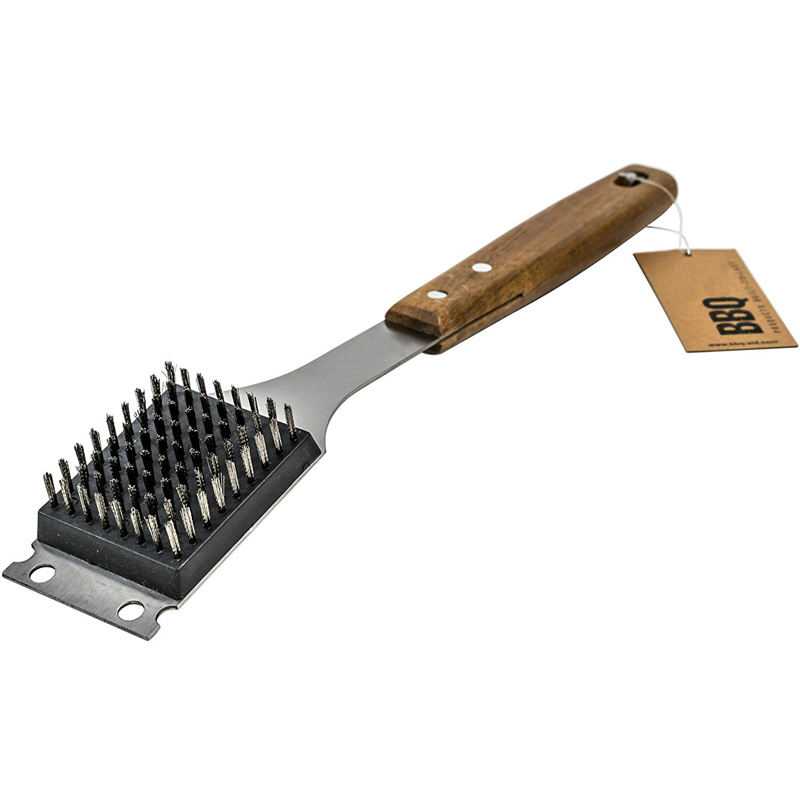 Barbecue Grill Brush and Scraper Extended, Large Wooden Handle and Stainless Steel Bristles