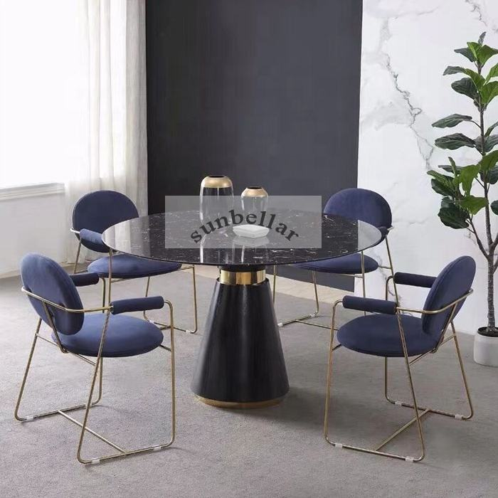 dinning table set 6 chairs dining room furniture modern design steel armchair