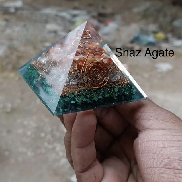 Red Carnelian, White Crystal & Green Jade Agate Gemstone orgone Energy pyramids In Wholesale : Get In Bulk orgonite pyramid