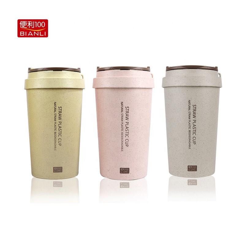 BIANLI100 Hot Selling Wheat Straw Rice Husk Fiber 400ml Reusable Travelling Water Bottle Coffee Cup Double Wall Mug 2235J
