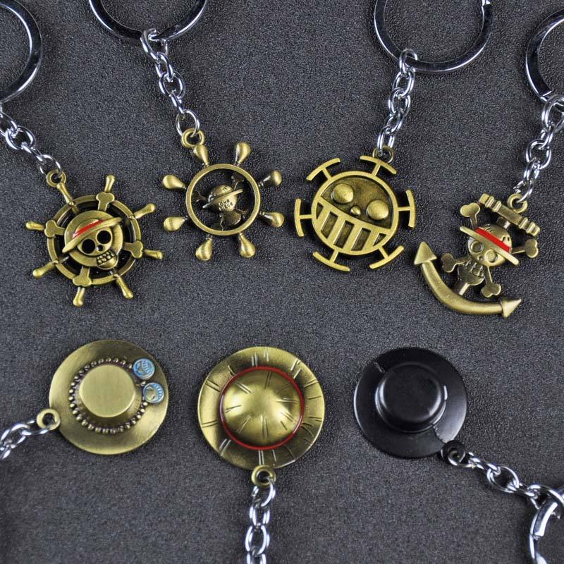 Wholesale Japanese Anime One Piece Alloy Charms Monkey D. Luffy Strawhat Metal Keychain