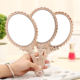 New Cute Silver Vintage Mirror Oval Round Makeup Hand Hold Mirror for Princess Lady Makeup Beauty Gift