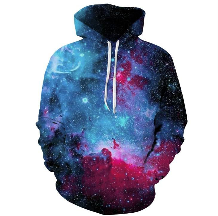 UFOGIFT Galaxy Unisex Realistic Hoodies Front Pocket Pullover Sweatshirt Hip Hop Youth Hoody
