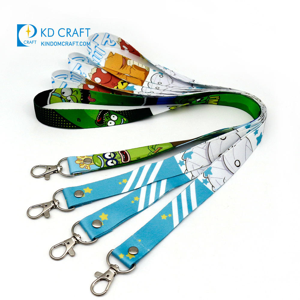 Wholesale personalizado plain retractable printed woven logo nylon polyester neck strap sublimation custom lanyard with buckle