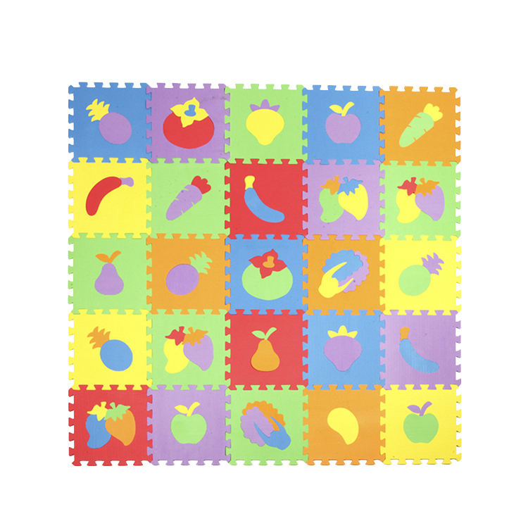 2020 factory 10Pcs Fruit Pattern Foam Puzzle Kids Carpet Split Joint EVA baby Play Mat Puzzle Mats