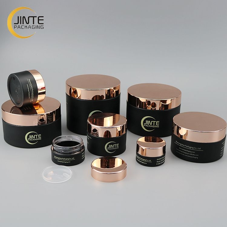 1OZ 2OZ 3OZ 4OZ 5OZ 8OZ Empty Jar Matte Black PETG Cosmetic Plastic Jars with Rose Gold Lid for Body Butter