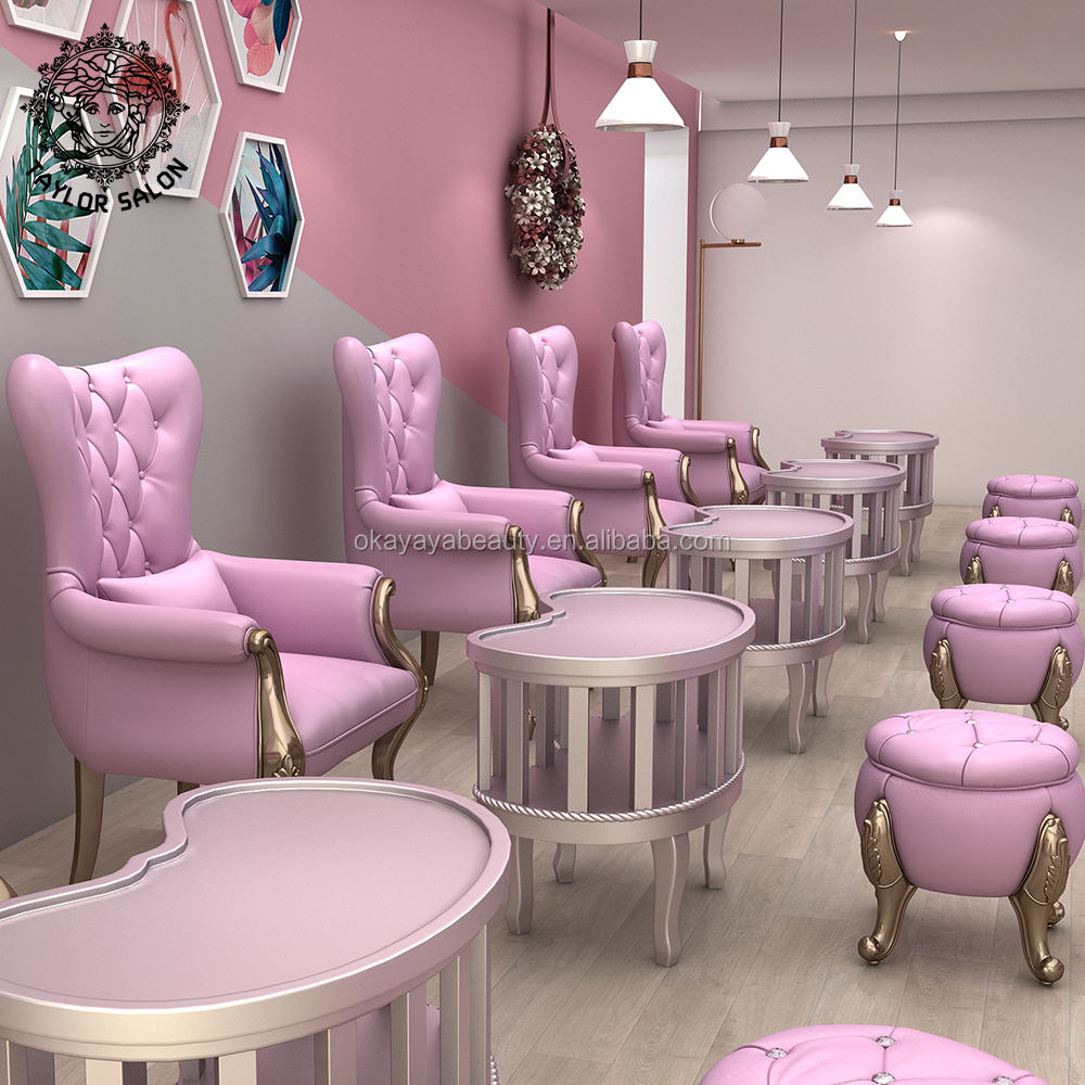 Custom nail salon furniture set nails table and chair office waiting area sofa reception desk