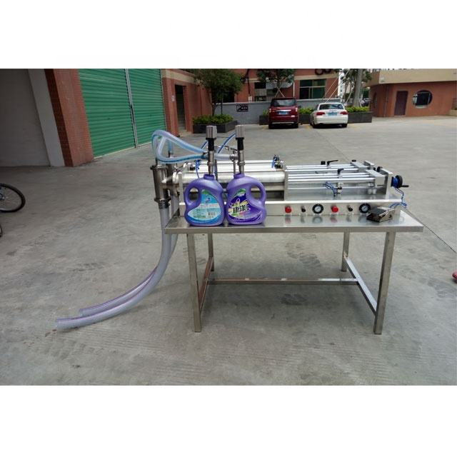Packaging equipment automatic piston cleaning liquid detergent double head filling machine