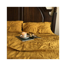 luxury stonewash organic 170gsm bright yellow color bedding
