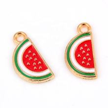 New Red Enamel Fruit Watermelon Pendant Charms Beads For Woman Girl DIY Bracelet Necklace Gift Jewelry Making Accessories