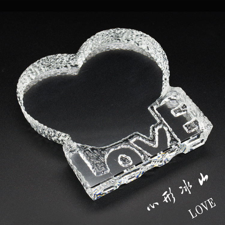 Wholesale heart shaped 3d laser engraving crystal love iceberg for Wedding gifts