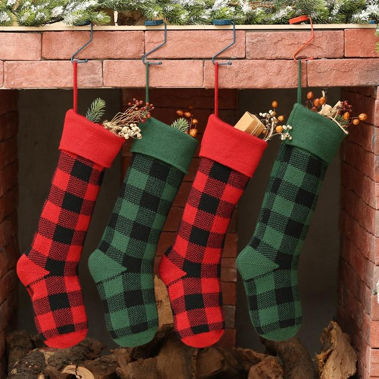 Christmas Plaid Knit Stockings Gifts Xmas Tree Decor Check Knitted Stockings Christmas Holiday Knit Pendant Socks Ornaments