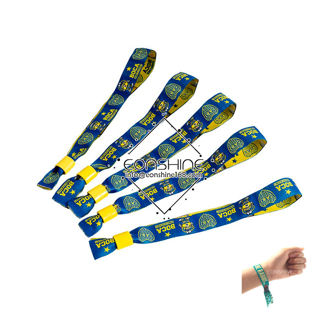 Cheap Custom Woven Embroidered Event Entrance Ticket Fabric Wristbands for DJ
