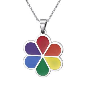 Stainless Steel Flower Shape Rainbow Pendant Necklace Lesbian Gifts