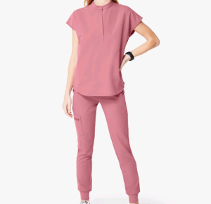 Women Mandarin Collar Scrub Uniform Top and jogger pants with multi pockets
