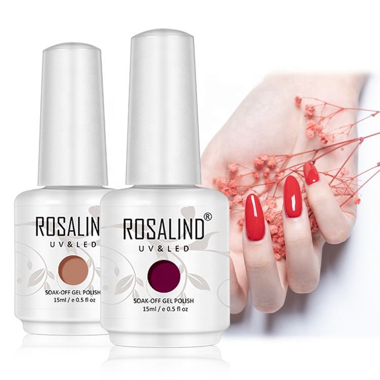 Rosalind oem custom logo nail art 15ml white bottle soak off gel polish semi permanent uv gel nail polish with private label