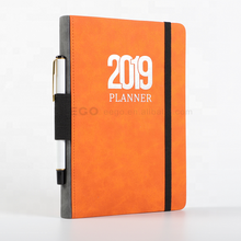 new design hardcover personalized printed logo custom pu leather cover a5 2020 2021 diary with pen holder