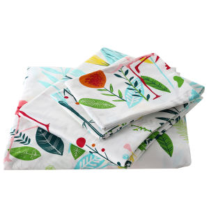 Nantong Reactive Printing Plant and Flower 100% Cotton Bed Sheet and Pillowcase Set Bedding set