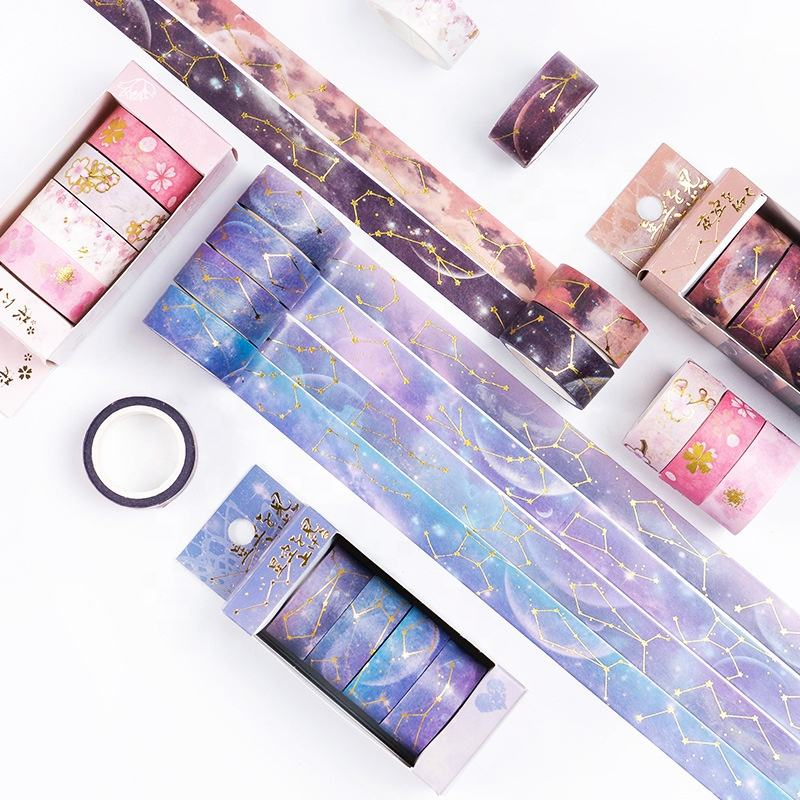 Starry Star Sky Kertas Washi Tape Set 15Mm Sakura Galaxy Emas Dekoratif Perekat Jurnal Masking Tape DIY Stiker